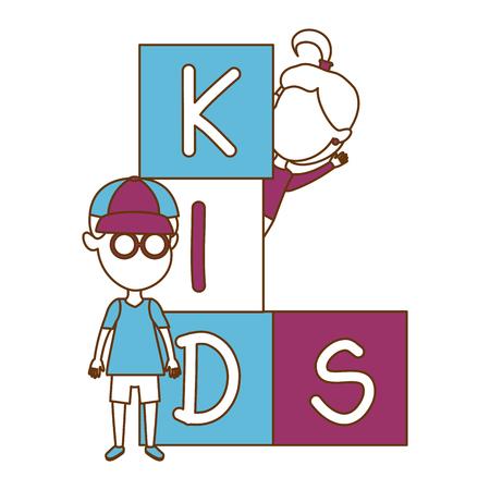 Kids with blocks vector illustration design Çizim