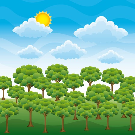 Nature's landscape of green forest on blue sky sun  and cloud vector illustration Archivio Fotografico - 96521716