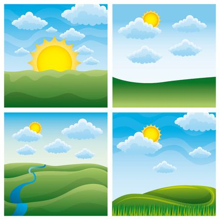 Four collection of  different beautiful scenes of nature landscapes vector illustration