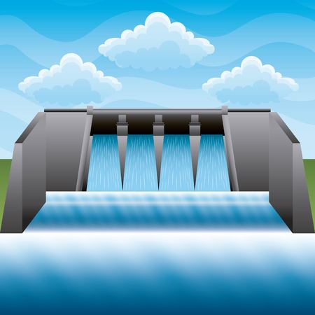 Hydroelectric power station power energy clean vector illustration Çizim