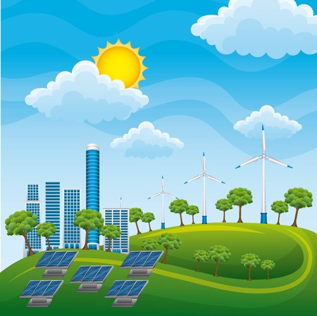 Generator plant of alternative energy sources with solar panels vector illustration Ilustrace