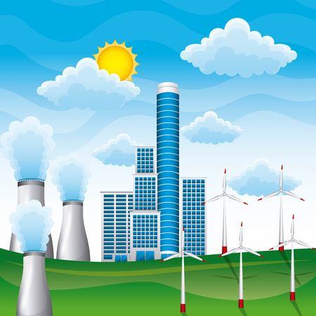 Landschap van kernenergieinstallatiezonnepaneel en turbinevleugels vectorillustratie Stock Illustratie