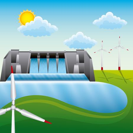 Renewable energy clean - dam hydroelectric wind turbine landscape vector illustration
