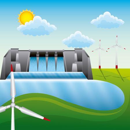 Renewable energy clean - dam hydroelectric wind turbine landscape vector illustration