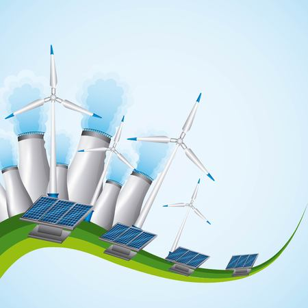Energy or power generation sources  as renewable solar and wind nuclear power plants vector illustration