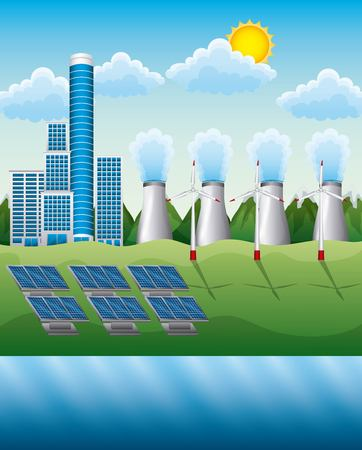 Landscape of electricity generation composition with power plant electrical pylons solar panels vector illustration