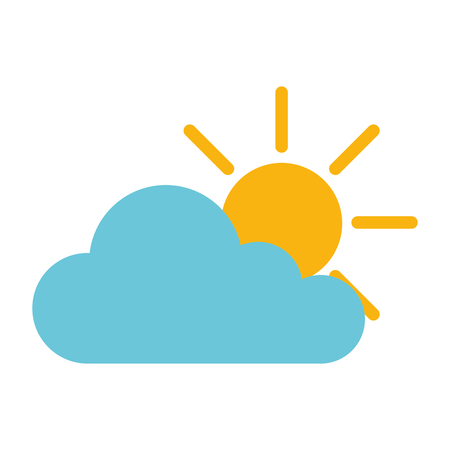 Cloud with sun silhouette isolated icon illustration design