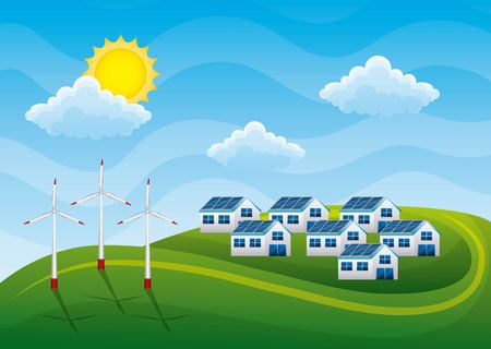 Group of houses with solar panel and wind turbines landscape illustration Иллюстрация