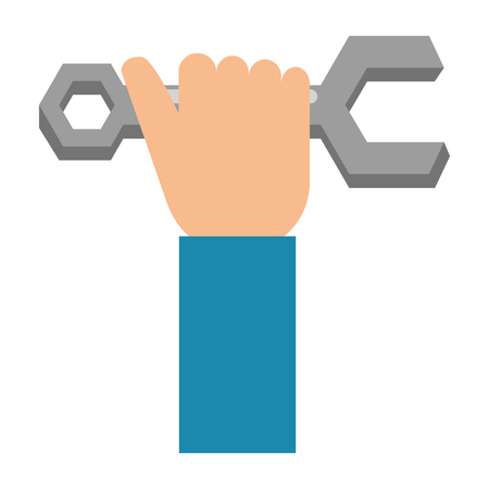 Hand with wrench key isolated icon  illustration design