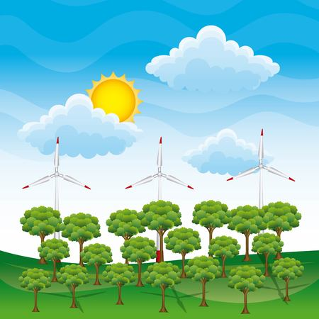 Forest landscape and wind turbines power illustration