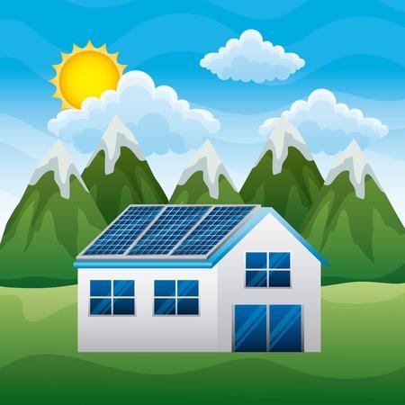 Paysage de la maison de montagne avec panneau solaire illustration vectorielle Banque d'images - 96522052