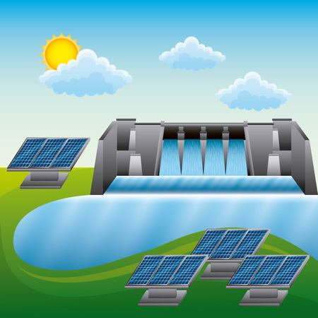 Landscape of  hydroelectric  solar panels, clean energy resources  vector illustration