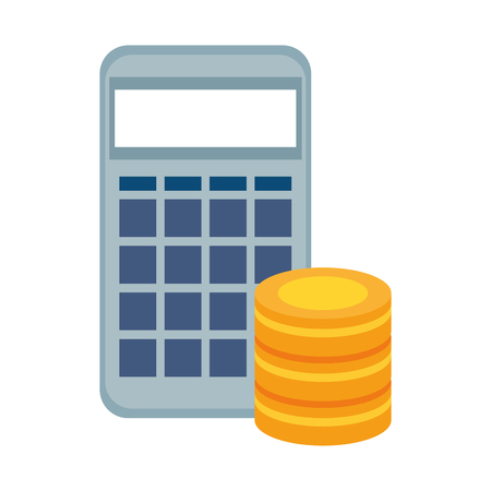 Calculator with hard disk vector illustration design