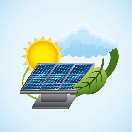 A solar panel for ecology power sources with cloud ad sun clean energy  vector illustration