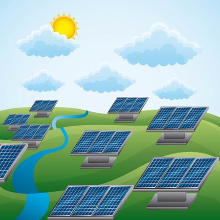 Landscape of natural energy sources with solar panels thru clouds and sun, energy clean vector illustration