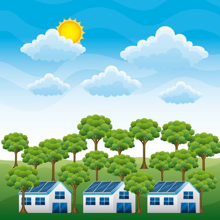 Landscape of clean energy sources, houses with solar panels and forest cloud sun vector illustration
