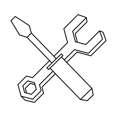 Wrench and screwdriver vector illustration design