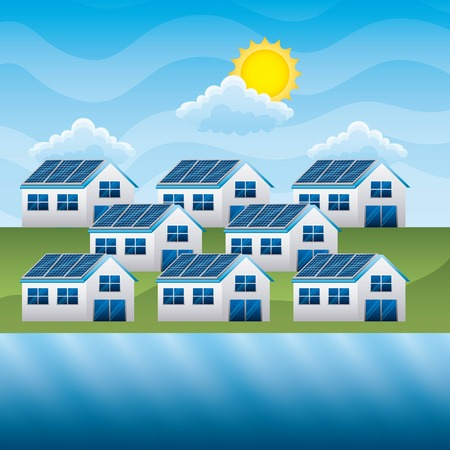 A group of houses with solar panel and river cloud sun- energy clean vector illustration Stock Illustratie
