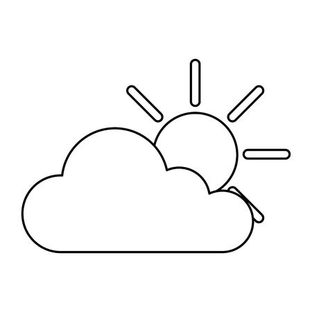 Cloud with sun icon vector illustration design