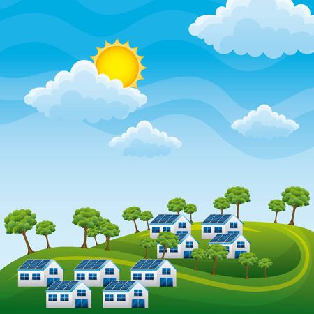 Natural scenery in landscape with hills, houses with solar panel trees - energy recycling concept vector illustration