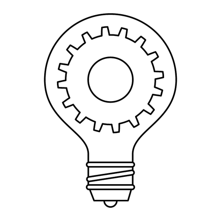 Bulb light idea with gears vector illustration design Ilustração