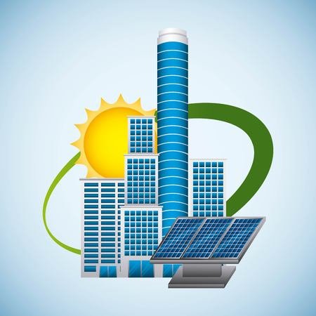Building with a panel for solar environment energy saving concept vector illustration Ilustrace