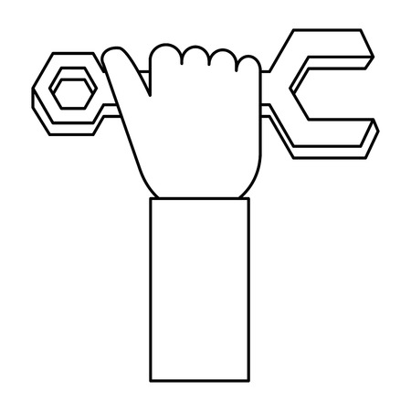 Hand with wrench key isolated icon vector illustration design Illustration