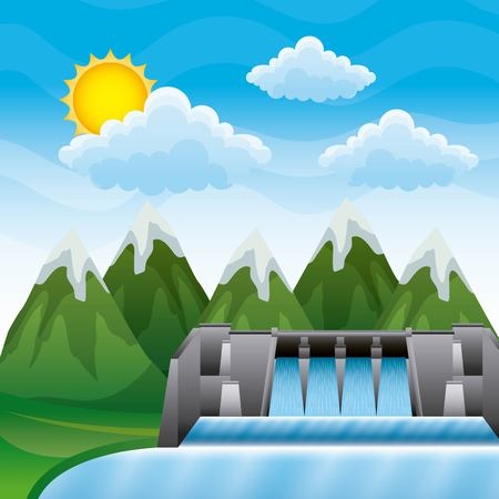 Landscape of mountains with dam hydroelectric energy clean vector illustration Archivio Fotografico - 96444973