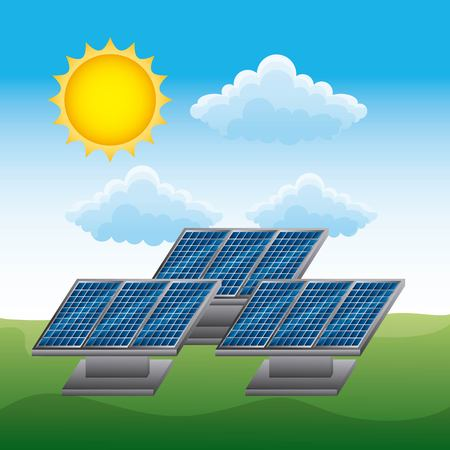 Clean energy concept with  solar panel renewable sustainable ecology vector illustration Ilustrace