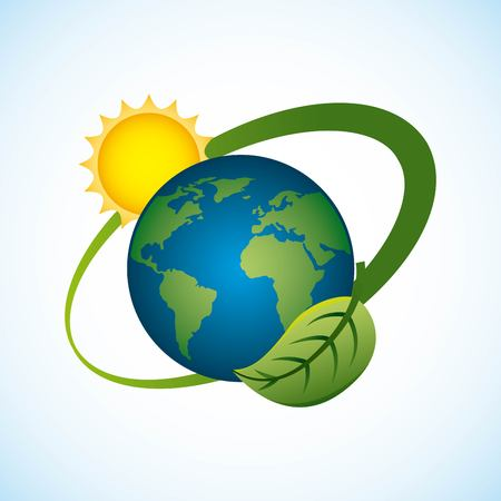 Planet earth with sun and leaf surrounding, environmentally clean energy concept vector illustration.