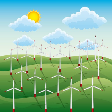 Green landscape with field wind turbines for energy clean sources concept, vector illustration Ilustração