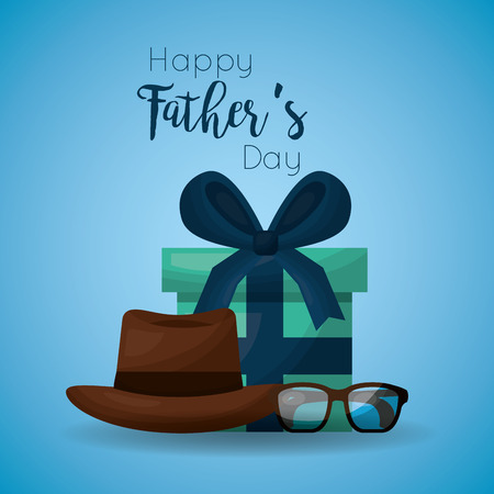 Fathers day celebration greeting card design with wrapped gift, hat and glasses vector illustration