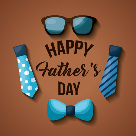 Fathers day celebration greeting card design with accessories, neckties, glasses and bow tie vector illustration Illustration