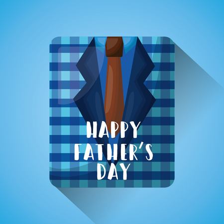 Fathers day celebration greeting card design with  blue checkered shirt and tie vector illustration