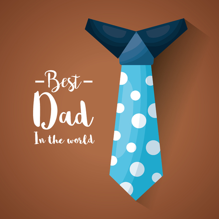 Fathers day celebration greeting card design with  big dotted tie and a message on brown vector illustration Ilustração