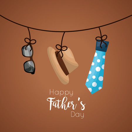 Conception de cartes de fête des pères heureux avec chapeau suspendu, lunettes et illustration vectorielle de cravate en pointillés
