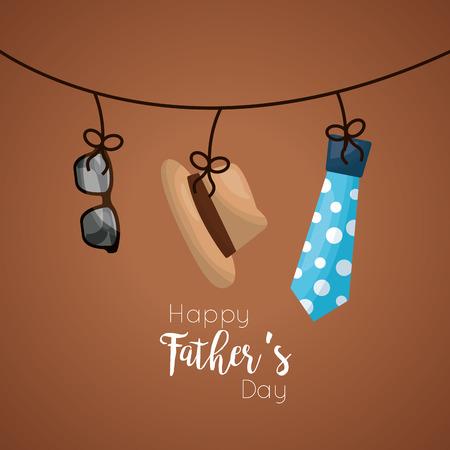 Glückliches Vatertagskartendesign mit hängendem Hut, Gläsern und punktierter Bindung vector Illustration