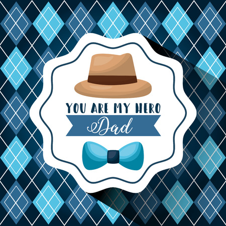 A Happy fathers day design concept with decorative label hat and bow tie with rhombus background vector illustration Иллюстрация