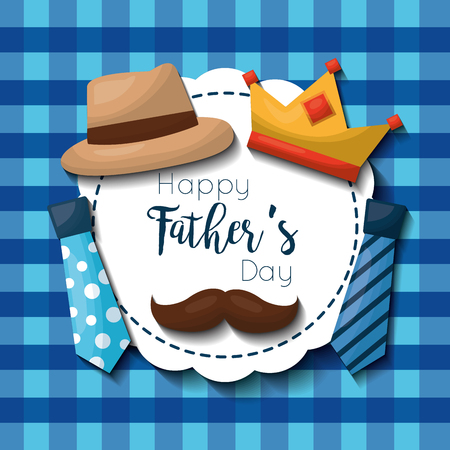 happy fathers day card set hat crown mustache and neckties vector illustration
