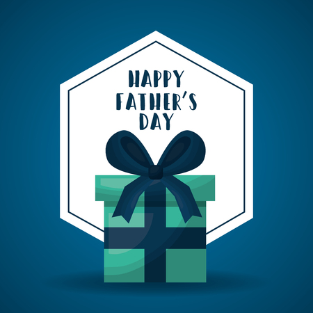 happy fathers day cute green gift box ribbon decoration vector illustration