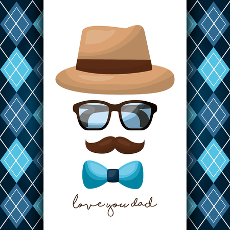 fathers day card hispter mustache hat glasses bow love dad vector illustration Stock Illustratie