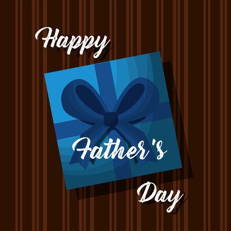 happy fathers day card gift box on wooden top view vector illustration