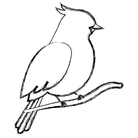 beautiful bird in branch tree decorative icon vector illustration design Иллюстрация