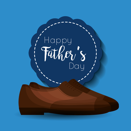 happy fathers day card blue label shoes acceesory vector illustration