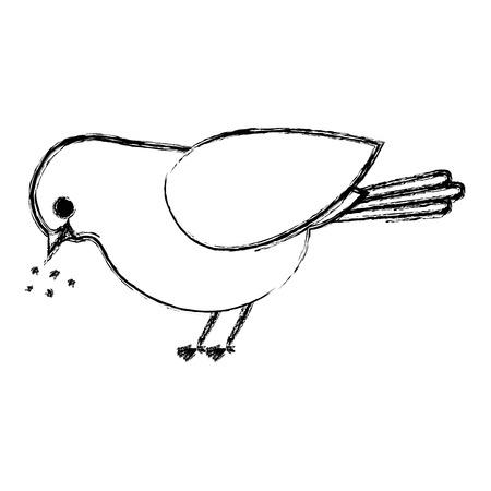 beautiful bird eating food decorative icon vector illustration design Illustration
