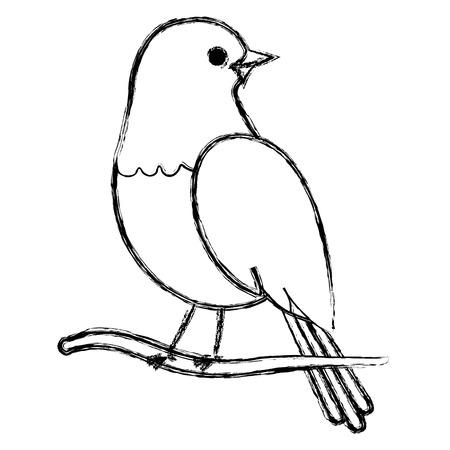 beautiful bird in branch tree decorative icon vector illustration design Çizim