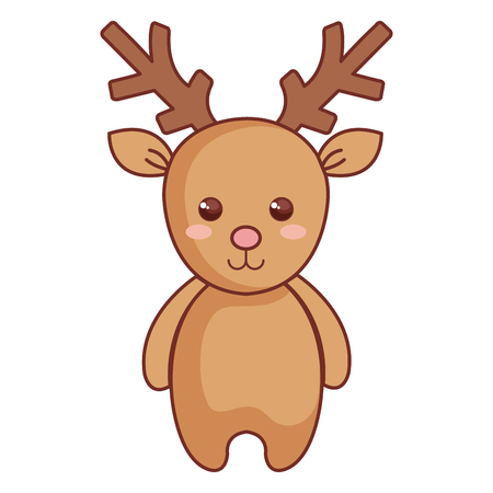 Cute reindeer icon for Christmas character vector illustration design
