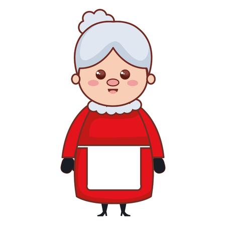 かわいいサンタ妻キャラクターベクトルイラストデザイン  イラスト・ベクター素材