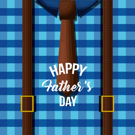 Happy fathers day card design with blue shirt, traditional celebration vector illustration