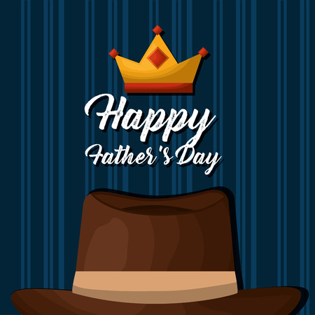 Happy fathers day card background design  with brown hat and a crown on blue vector illustration Çizim